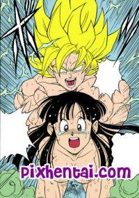 Chi-Chi dientot Goku saat Mandi